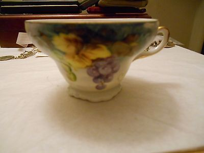 Vintage Lefton Hand Painted Grape Flower Coffee Cup
