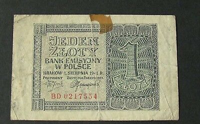 Jeden Zloty 1 - 1941 Polish Banknote During the Occupation - Circulated