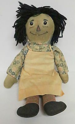 """Volland Antique Raggedy Ann Doll 16"""" Outline Nose Cardboard Candy? Heart"""
