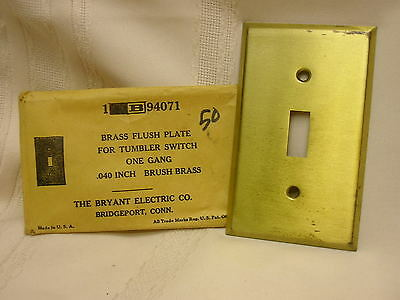 Vintage Switch Plate Brass The Bryant Electric Co. Bridgeport Conn.