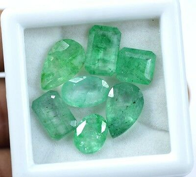 Natural 21.65 Ct /7 Pcs  Real Zambian Green Emerald Gemstone Lot For Sale~CD4558