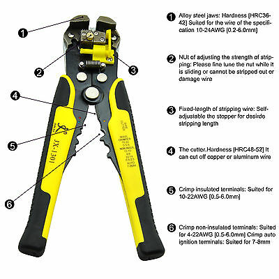 Automatic Cable Wire Stripper Tool Electrical Crimper Stripping Cutter Pliers US