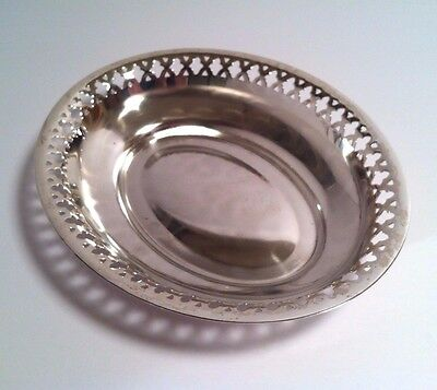 "WMF 9"" Oval Reticulated Silver Plated Dish/Bowl with Ball Feet - Germany c.1965"