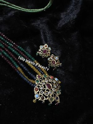 large pendent set with ear studs.hyderabadi, South Indian jewellery