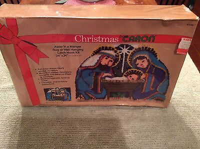 "NIP Vintage Caron Away in a Manger Christmas Latch Hook Kit 1982 24""x 34"" K3398"