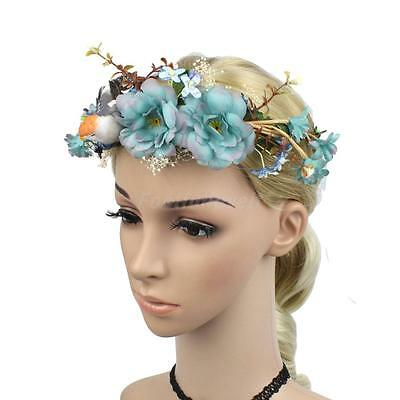 Women Bridal Wedding Flower Headpiece Headband Boho Bird Crown Beach Garland