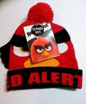 ANGRY BIRDS COLD WEATHER GEAR Red Angry Bird Gloves And Pom-Pom Hat Set NEW