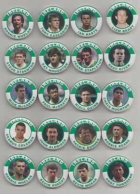 REPUBLIC OF IRELAND FOOTBALL LEGENDS BADGES X20 ALL BADGES ARE 38mm IN SIZE