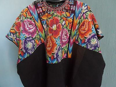 Vintage Guatemala Flowered Huipil Chichicastenango Top Blouse Poncho batwing