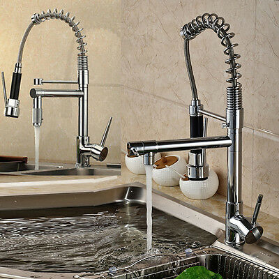 Kitchen Sink Mixer Tap Swivel Vanity Basin Chrome Commercial Spring Faucet Brass
