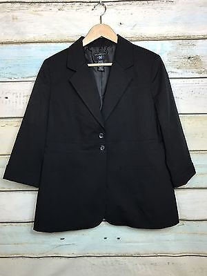 Women's New Additions Maternity Black 3/4 Sleeve 2 Button Career Jacket Sz M NWT