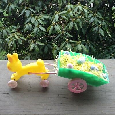 Vintage EMPIRE Plastic Easter BUNNY Rabbit Pulling CART Pink Yellow Green Signed