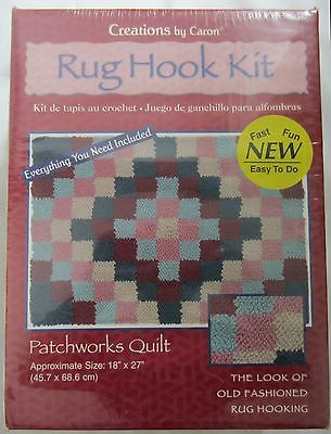 "Caron Latch Hook Rug Patchworks Quilt Kit 18"" x 27"" Everything Included"