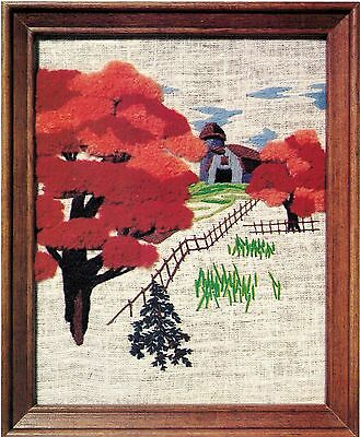 """Broderie Creative Stitchery Crewel Embroidery KIT Barn Autumn Leaves 8"""" X 10"""""""