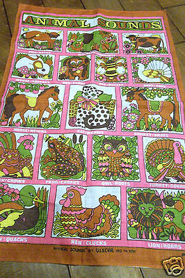 "Vtg Animal Sounds ULSTER Irish Linen Kitchen Towel Hot Pink 19 1/2"" by 32 1/2"""