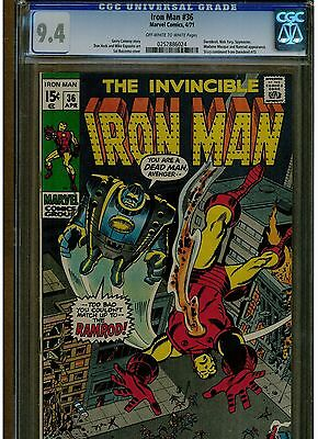 Iron Man #36 Cgc 9.4 Near Mint 1971 Story Continue From Daredevil #73 Owtw Pages