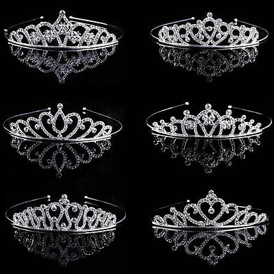Bridesmaid Bride Wedding Party Prom Crystal Rhinestone Crown Tiara Headband Veil