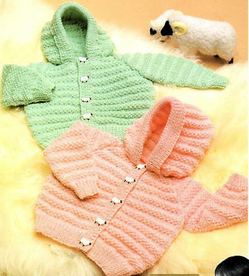 Baby Knitting Pattern copy Hooded Jackets in 8 Ply FREE Post