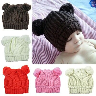Baby Toddler Kids Boy Girl Winter Warm Knitted Crochet Dual Ball Ear Hat Cap AU