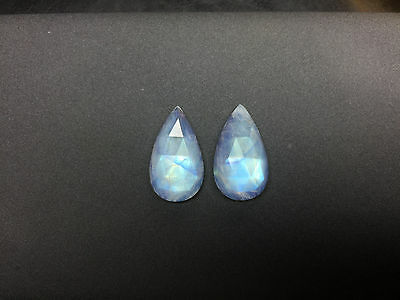 16.8Cts, 100% Natural High Quality Royal Blue Pear Shaped Blue Moonstone Pair