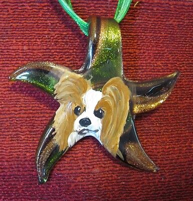 Papillon hand painted on Murano galss starfish pendant/bead/necklace