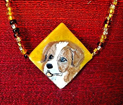 Australian Shepherd - red- hand painted on gold, square, wavy gemstone pendant/b