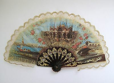 Vintage souvenir decorative hand fan, lace decorated, Venezia