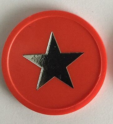 Plastic Token Red - Silver Foil Print Star - Bag Of 100 - Party, Reward, Event