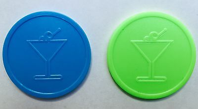 Cocktail Plastic Tokens - Bag Of 100 - Embossed Both Sides - Bar, Party, Wedding