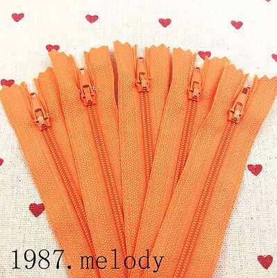 5~100pcs Nylon Coil Zippers 9/12/16 inch Tailor sewing Crafter DIY tool(Orange)