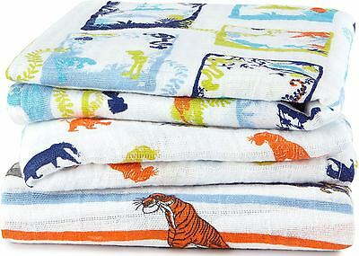 Aden + Anais DISNEY BABY MUSLIN SQUARES 3 PACK JUNGLE BOOK 100% Cotton BN