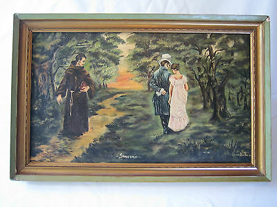 Antique Oil On Canvas Painting Signed Canadian Quebec Artist Monk Victorian 1890