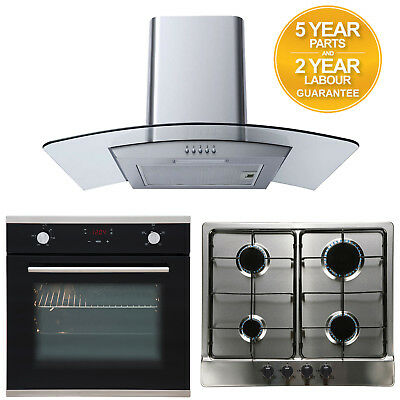 SIA Touch Control Electric Oven, 4 Burner Gas Hob & Curved Glass Cooker Hood
