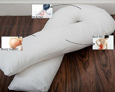 Superior Full Body U Shaped Pregnancy Pillow with FREE White Cover Made in UK