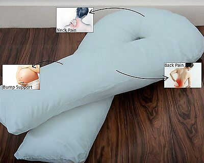 Superior Full Body U Shaped Pregnancy Pillow with FREE Sky Blue Cover Made in UK