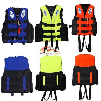 S-XXXL Polyester Adult Life Jacket Swimming Boating Whistle Prevention Flood UK