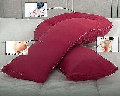 Superior Full Body U Shaped Pregnancy Pillow with FREE Wine Cover Made in UK
