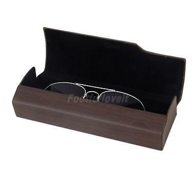 Wood Grain Leather Eye Glasses Spectacles Clam Shell Hard Box Holder Case