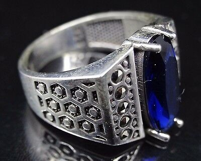 Turkish Handmade 925 sterling silver Sapphire Men's Ring Sz 10 Free Resize #1091