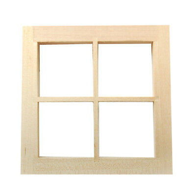 1:12 Scale Dolls House Miniature Furniture Wooden 4 Pane Window with Frame