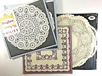 Vintage Royal Lace Paper Doilie Lot Roylies NEW Old Stock Circular Square Roses