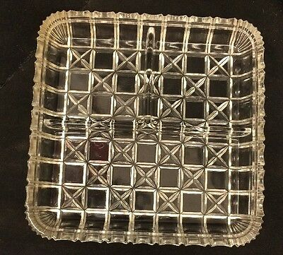 Vintage Clear Glass Square Divided Relish Dish - Three sections
