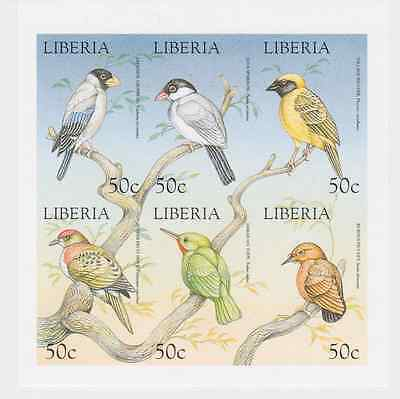 Liberia - Birds, Sparrow, Dove, Weaver, Tody, 1999 - Sheet of 6 MNH IMPERFORATE
