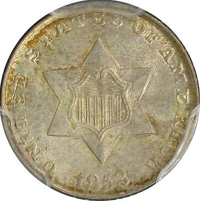 1853 Three Cent Silver PCGS MS63