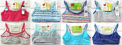 NWT Hanes Girls' 2-Pack Crop Top Soft Cup Bralette Bra Size & Design Variations