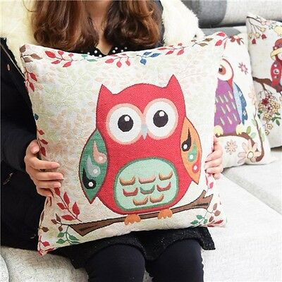 Retro Owl Cartoon Linen Print Animal Home Sofa Decor Cushion Cover Pillow Case