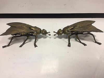 """Set of 2 Vintage Large 7"""" Brass fly / bug ash tray 