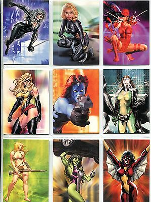 Women Of Marvel Series 1 Complete Embossed Chase Card Set T1-9