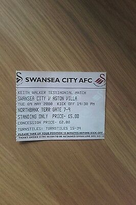 Swansea City V Aston Villa Used Ticket 9Th May 2000 Keith Walker Test Rare