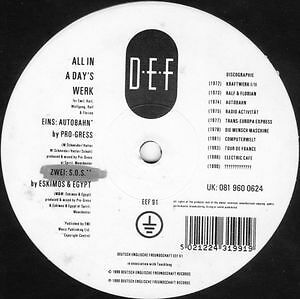 "Various - All In A Day's Werk (5 track 12"")  West Bam Eskimos & Egypt Kraftwerk"